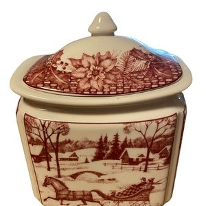 222 Fifth Poinsettia Toile Canister with Lid